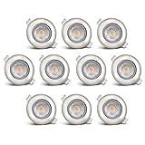 B.K.Licht LED Einbauleuchten 10er Set, Einbaustrahler, inkl. 10x LED-Modul 5W 450lm 3000K, LED Deckenstrahler Deckenspot...