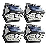 【ERWEITERTE VERSION】Mpow 4 Stücke Bewegungssensor Solarlicht, 20 LED Superhelles Weitwinkel Solarleuchte, Helle Solarbetriebene...