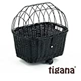 Tigana - Hundefahrradkorb für Gepäckträger aus Weide 44 x 34 cm mit Metallgitter und Kissen eckig Tierkorb in SCHWARZ...