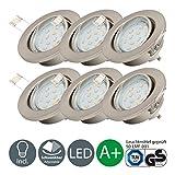 LED Einbaustrahler schwenkbar inkl. 6 x 3W Leuchtmittel 230V GU10 IP23 LED Deckenstrahler Deckenspots warmweiss...
