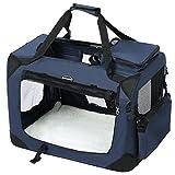 SONGMICS Hundebox Transportbox Auto Hundetransportbox faltbar Katzenbox Oxford Gewebe dunkelblau M 60 x 40 x 40 cm...