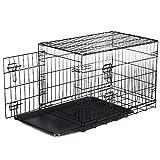 HENGMEI Hundekäfig Transportkäfig Drahtkäfig Transportbox Hundebox mit 2 Türen für Welpen, Hunde, Katzen Klappbar...