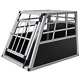 Jalano Hundebox aus Aluminium für Den Transport Kleiner Hunde Auto Gitterbox mit geneigter Vorderseite für PKW...