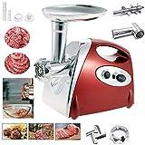 Elektrischer Fleischwolf, YUMUN Profi Wurstmaschine Set, Multifunktions Küchenmaschine Fleisch mit Edelstahlklinge -rot