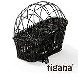 Tigana - Hundefahrradkorb für Gepäckträger aus Weide 60 x 39 cm mit Metallgitter + Kissen Tierkorb Hundekorb für...