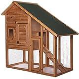 dibea RH10012, Kleintierstall Holz (140 x 64 x 119 cm), geräumiger 2-Etagen Käfig mit herausziehbarer Schublade, 2...