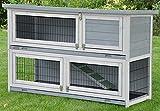 nanook Kaninchenstall, Hasenstall Meerschweinchen Flauschi grau, doppelstöckig, Wetterfest - 130 x 49 x 83 cm, Farbe:...