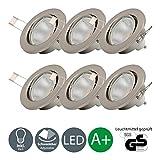LED Einbaustrahler Schwenkbar Inkl. 6 x 5W Leuchtmittel 230V GU10 IP23 LED Einbauleuchte Deckenspot Decken Einbaustrahler Einbauspot...