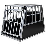 Jalano Hundetransportbox Alu Größe XXL schwarz/Silber - Gitterbox Aluminium Auto Transportbox große Hunde - Hundebox...