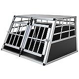 Jalano Doppel Hundebox aus Aluminium für den Transport Kleiner Hunde Auto Gitterbox mit geneigter Vorderseite für PKW...