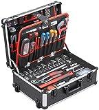 Meister Werkzeugtrolley 156-teilig - Werkzeug-Set - Mit Rollen - Teleskophandgriff/Profi Werkzeugkoffer...