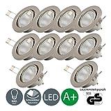 LED Einbaustrahler Schwenkbar Inkl. 10 x 5W Leuchtmittel GU10 IP23 LED Einbauleuchte Deckenspot Einbauspot Deckeneinbauleuchte Spots 230V 10er Set...