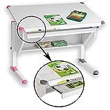 CARO-Möbel Kinderschreibtisch Philipp mit Schublade Schülerschreibtisch höhenverstellbar, Wechselkappen rosa pink und...