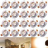 Hengda 20X 3W Warmweiß LED Decken Einbaustrahler für Badezimmer Wohnzimmer küche Spot Leuchte Lampe Set 255Lumen...