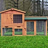 ZooPrimus Kleintier-Stall Nr 01 Kaninchen-Käfig 'HASENVILLA' Meerschweinchen-Haus für Außenbereich (Breite 145cm,...