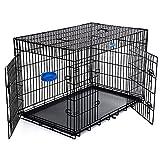 SONGMICS Hundekäfig Hundebox Transportbox Drahtkäfig Katzen Hasen Nager Kaninchen Geflügel Käfig schwarz XXXL 122 x...