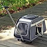 Petsfit fahrbarer Tierträger mit Teleskopstiel, portabler Reiseträger für große Hunde und Katzen mit Rollen - In...