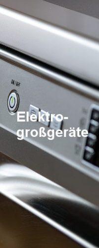 Eine Spülmaschine in sehr naher Detailaufnahme. In weißer Schrift steht mittig im Bild das Wort Elektrogroßgeräte.